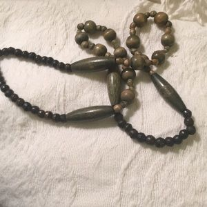 Vintage Jewelry - Long olive green vintage wood bead necklace